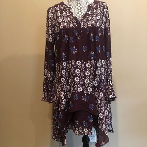 Parker Pintuck Floral Shift Dress bell sleeve-NWT
